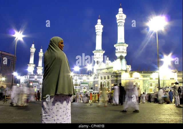 Hajj pilgrimage to Mecca, Al Haram Mosque and Kaaba Saudi Arabia - Stock-Bilder