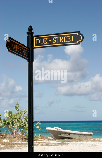 Grand Turk Cockburn Town sign Duke Street Turks Island Passage - Stock Image