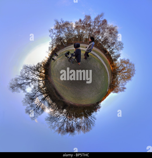 People in park with little planet effect - Stock Image