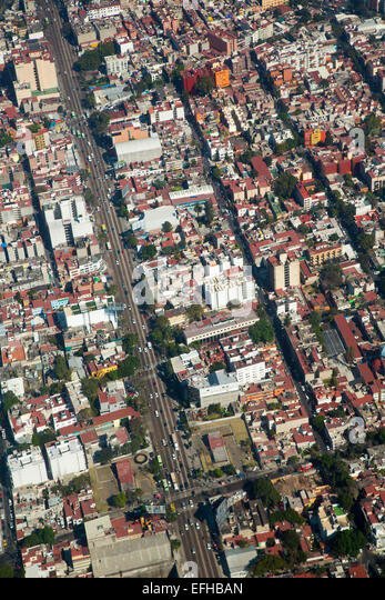 Mexico City, Mexico - An aerial view of Mexico City. - Stock Image