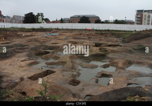 archaeological dig excavation at York - Stock Image
