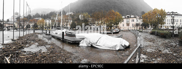 Maggiore Lake overflow in Laveno-Mombello, autumn season Varese - Lombardy - Stock Image
