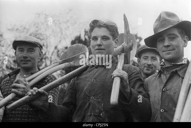 Workers at the Westwall, 1938 - Stock-Bilder