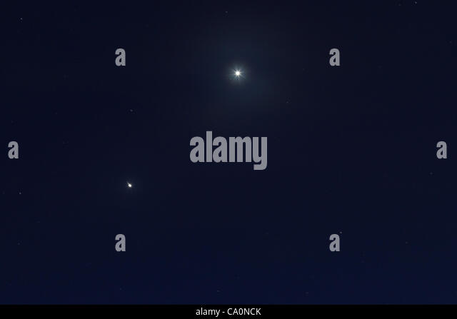 Conjunction between Jupiter and Venus (brightest, top right). Planets passing close together on the sky for the - Stock Image