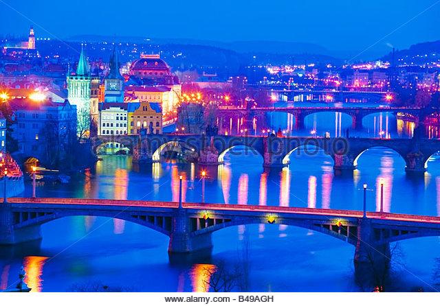 River Vltava Prague Czech Republic at twilight - Stock-Bilder
