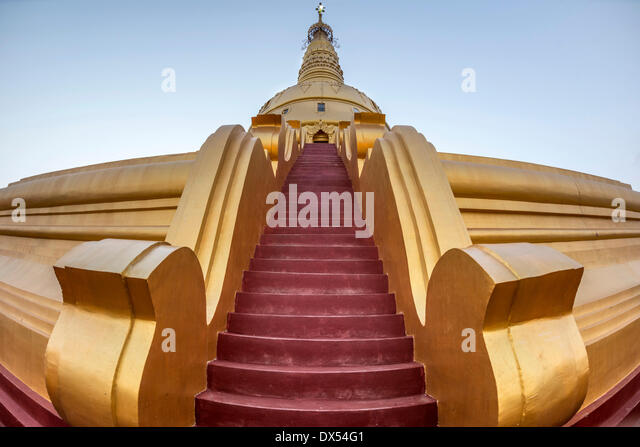 Red stairs, Sakkya Aung Pagoda, Maha Bodhi Ta Htaung, Monywa, Sagaing Division, Myanmar - Stock-Bilder