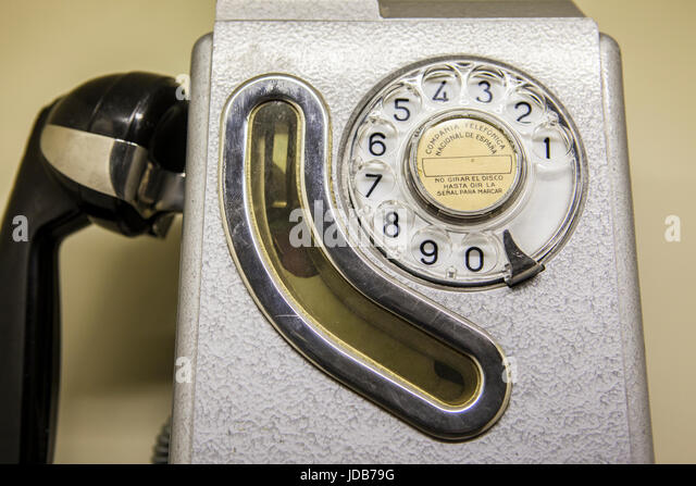 Old spanish public telephone booth used from 1960 to 1980 - Stock Image