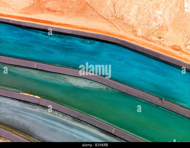 Aerial detail of tailing ponds for mineral waste in rural Utah United States - Stock-Bilder