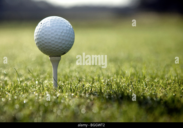 Close-up of golf ball on tee - Jekyll Island, Georgia USA - Stock Image