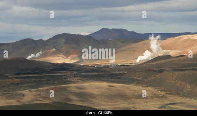 Geothermal energy area near Myvatn, Iceland. - Stock Image