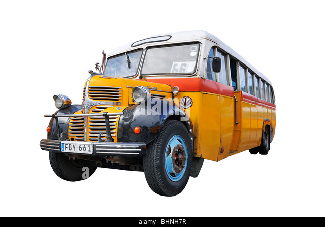 Maltese classic bus public transport - Stock Image