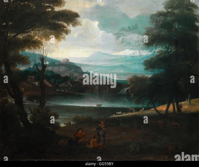 Giovanni Francesco Grimaldi - Landscape with resting shepherds - Stock Image