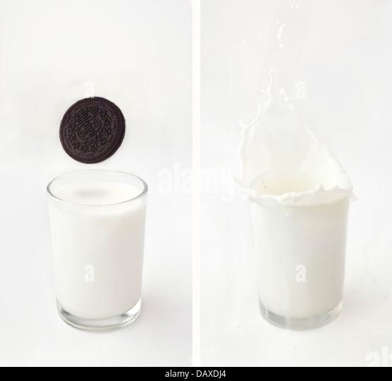 Oreo milk splash - Stock Image