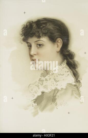 Portrait of a brunette woman from the profile view, 1900. From the New York Public Library. - Stock Image