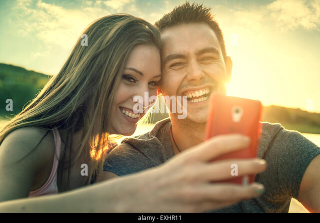 Love Couple smiling, close-up photo selfie - Stock-Bilder