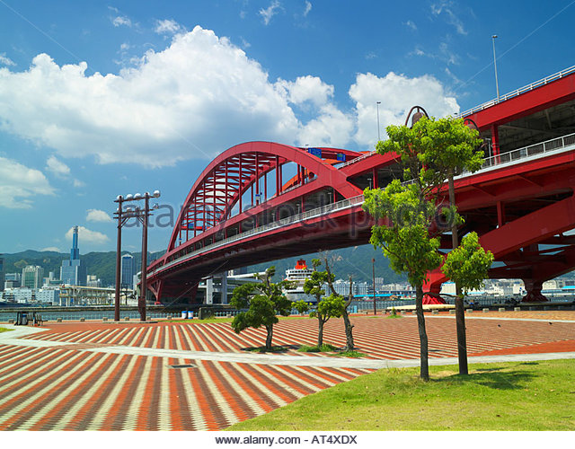 Port Island, Kobe Big Bridge, Kobe port, Kobe, Hyogo, Japan - Stock Image