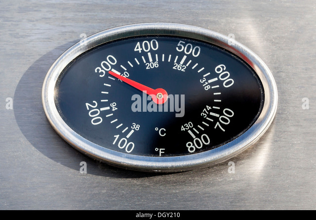 Thermometer, temperature display in Fahrenheit and Celsius or Centigrade, on a gas grill, Germany - Stock Image