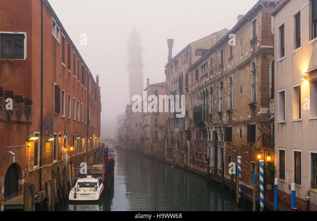 Chiesa San Giorgio del Greci , Rio del Greci, morning fog, Venedig, Venezia, Venice, Italia, Europe, - Stock Image