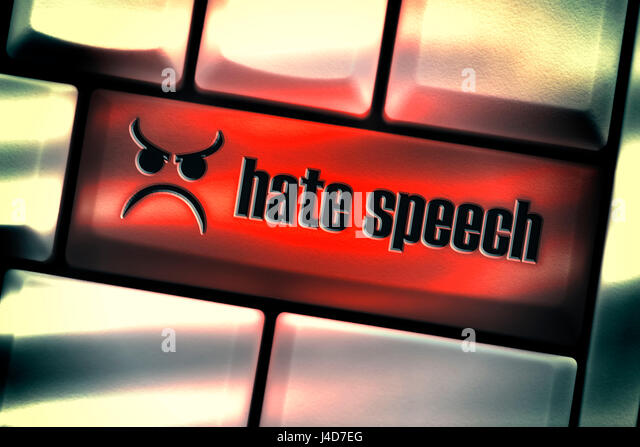 Computer key with the label Hate speech, hatred talking on social networks, Computertaste mit der Aufschrift Hate - Stock Image