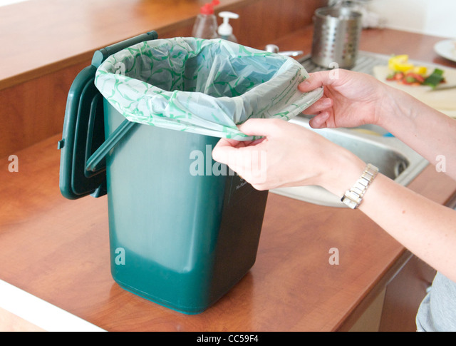 Food waste home composting - Stock Image