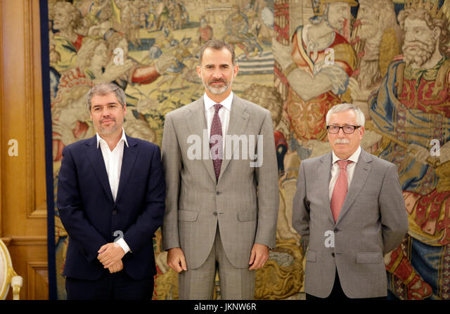 Madrid, Spain. 24th July, 2017. King Felipe VI of Spain during a audience with Ignacio Fernández Toxo and Unai - Stock Image