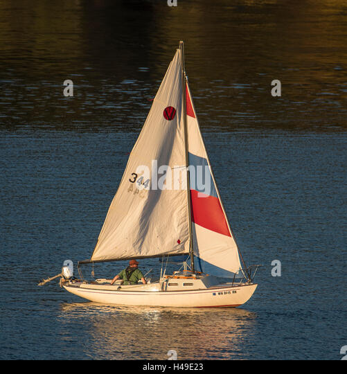 Colorful sailboat sailing on the Puget Sound, State of Washington, USA - Stock Image
