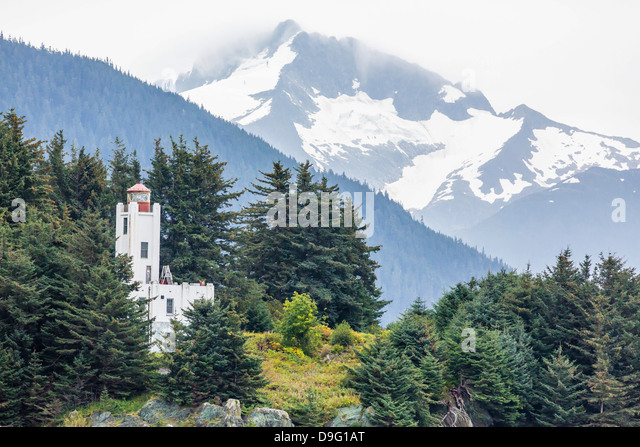 Lighthouse just north of Juneau, Southeast Alaska, USA - Stock Image