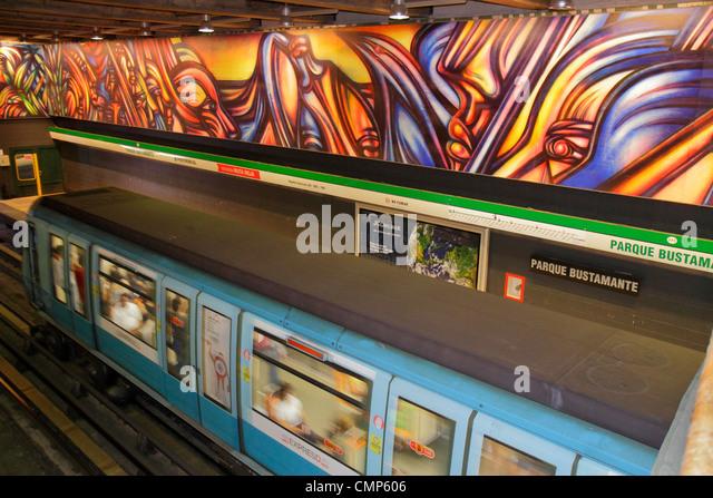 Chile Santiago Providencia Metro Station Parque Bustamante subway - Stock Image