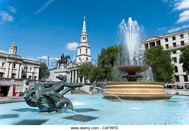 Fountain at Trafalgar Square, London, UK - Stock Image