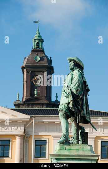 Statue of King Gustavus Adolphus of Sweden, in Gustavus Adolphus Square, Gothenburg, Sweden. - Stock Image
