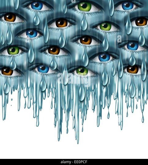 World grief and global tragedy concept as a group of human eyes crying with tears in solidarity coming together - Stock Image