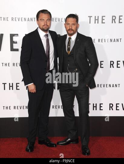Los Angeles, CA, USA. 16th Dec, 2015. Leonardo Dicaprio, Tom Hardy at arrivals for THE REVENANT World Premiere, - Stock Image