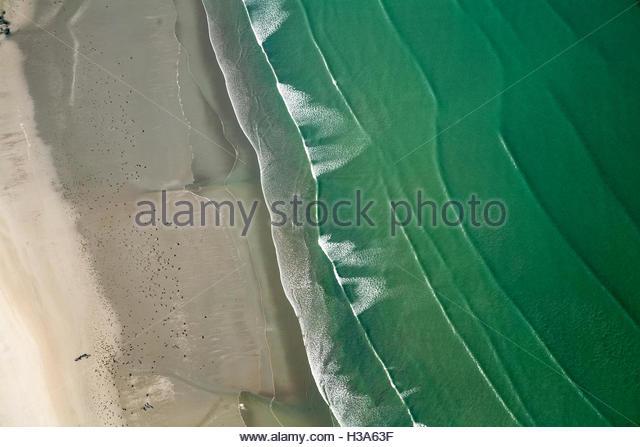 aerial view of Saint Michel en Greve beach - Stock Image