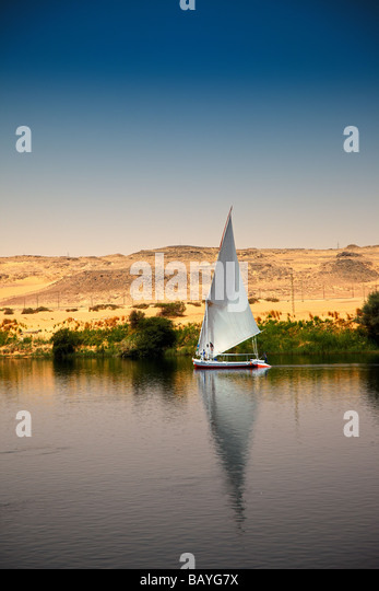 Felucca Sailing Boat on the River Nile near Aswan, Egypt - Stock Image