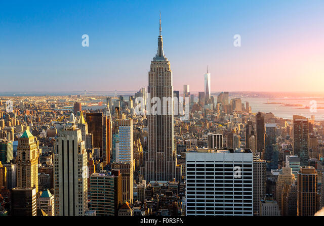 New York City, Empire State Building at Sunset - Stock-Bilder