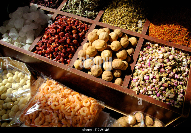 Street stall selling herbs and dried food, Dubai, United Arab Emirates, Middle East - Stock Image
