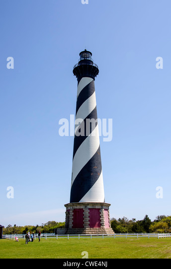 Cape Hatteras Light Station Lighthouse Tower tourists, Cape Hatteras National Seashore, Outer Banks, North Carolina - Stock Image