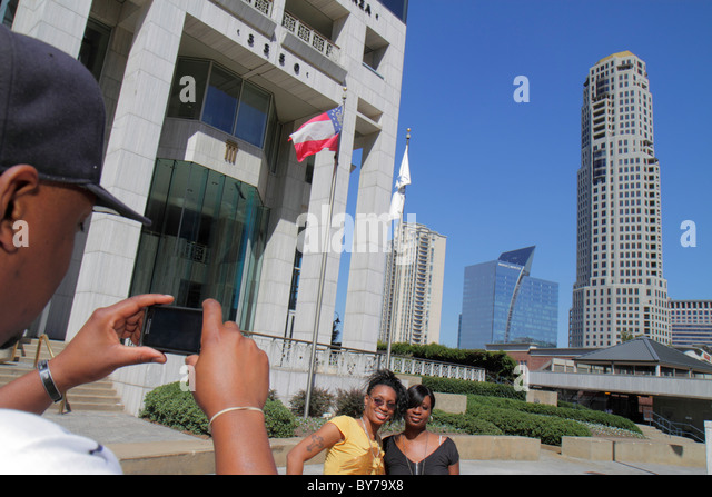 Atlanta Georgia Buckhead Peachtree Street skyline skyscraper high rise office building upscale Capital City Plaza - Stock Image