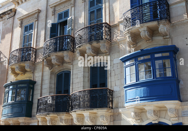 Traditional maltese balcony valletta malta stock photos for Traditional balconies