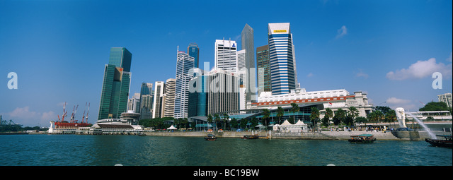Singapore, Business center taken from the Marina. - Stock Image