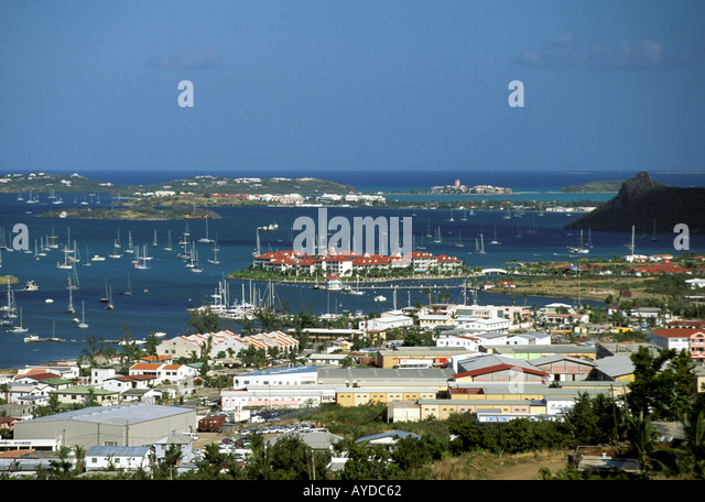 St Maarten Simpson Bay as viewed from above - Stock Image