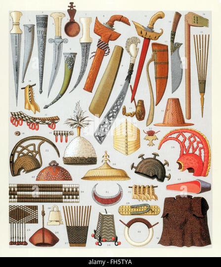 Oceania Islanders Weapons, 1880s - Stock Image