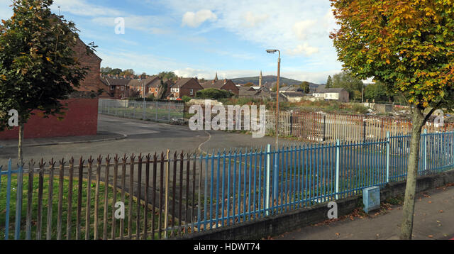 Waste Ground,Council estate,West Belfast,Northern Ireland,UK - Stock Image