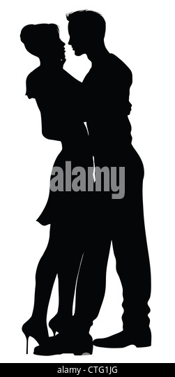 couple silhouettes - Stock Image