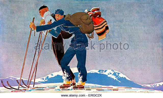 Ski guide, 1930s - drawing by René Vincent  (1879 -1936)..  Winter resort. - Stock Image