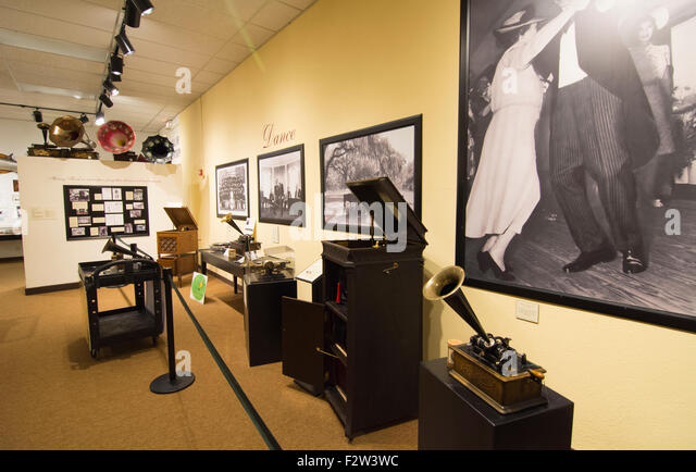 Thomas Edison inventor home and museum in Ft Myers Florida inventions room phonograph and sound inventions - Stock Image