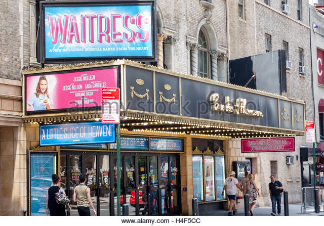Manhattan New York City NYC NY Midtown Broadway theater district Waitress Brooks Atkinson Theatre musical marquee - Stock Image
