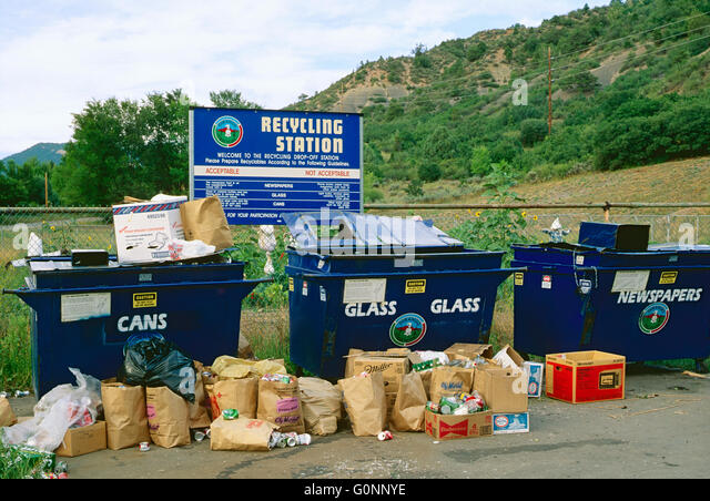 Consumer recycling station; Durango; Colorado; USA - Stock Image