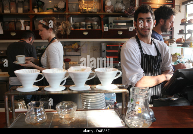 Israel, Tel Aviv, Outdoor cafe and restaurant - Stock Image