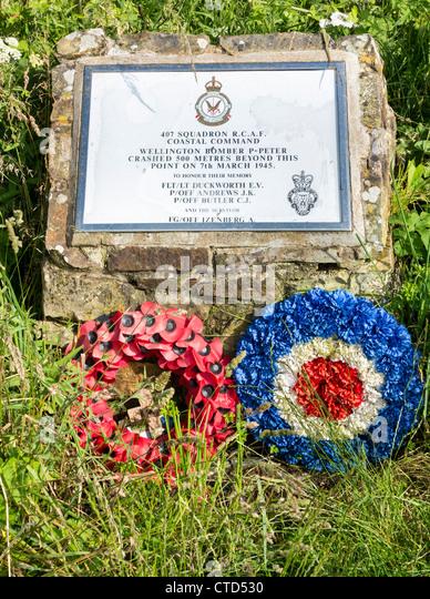 Wellington bomber crash memorial, Bideford, North Devon, England. - Stock Image
